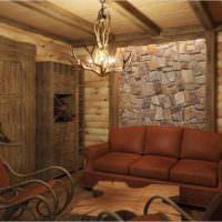 Камень и дерево в отделке банной комнаты отдыха