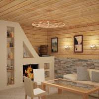 Интерьер просторной бани в современном стиле