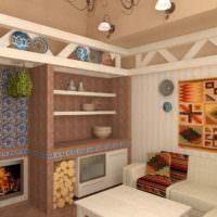 Дизайн-проект комнаты для отдыха в бане скандинавского стиля
