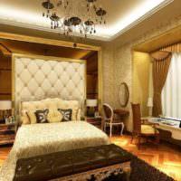 Черная люстра в спальне с золотым декором
