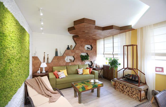 Красивый интерьер гостиной дачного дома в экостиле