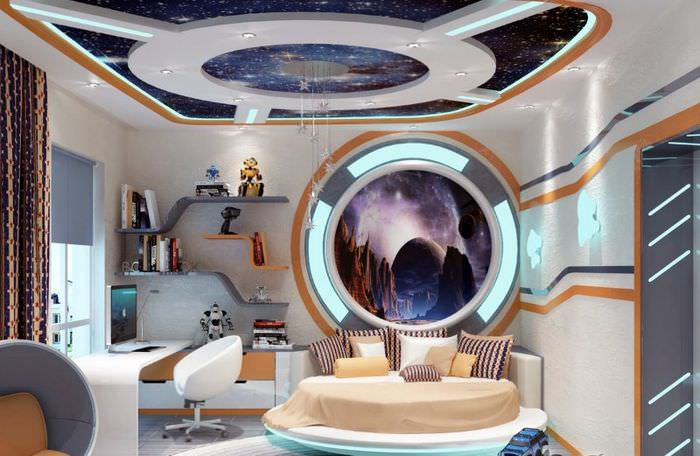 Дизайн детской комнаты в космической стилистике