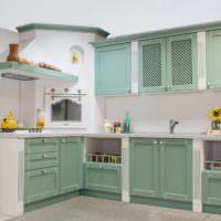 Мятный цвет в оформлении кухонного гарнитура