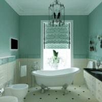 Интерьер ванной комнаты в мятных тонах