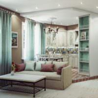 Кухня на подиуме в совмещенной гостиной