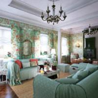 Мятный цвет в интерьере гостиной в стиле прованс