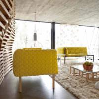 Мебель оливкового цвета в интерьере гостиной