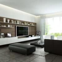 Черная мебель в светлой гостиной