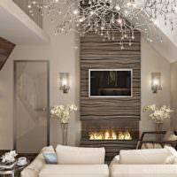 Дизайн гостиной частного дома в стиле контемпорари