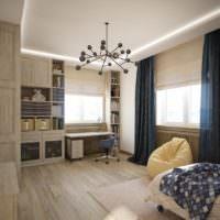Темные шторы в серо-коричневой спальне
