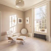 Интерьер в стиле минимализма в гостиной загородного дома