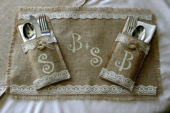 Конверты для ложек и вилок из мешковины своими руками