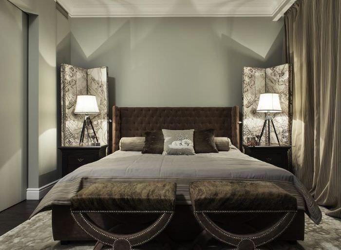 Интерьер современной спальни в коричневых тонах