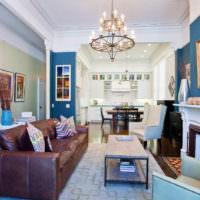 Синий цвет в интерьере жилой комнаты