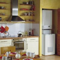 Напольный газовый котел в интерьере кухни