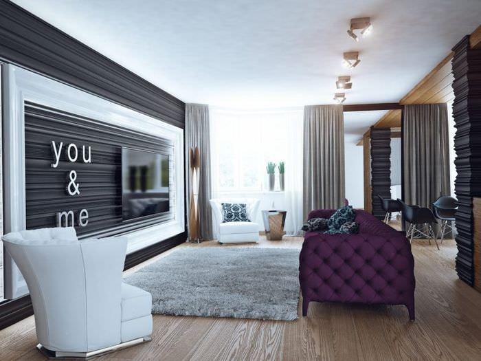 Современная квартира с ковром на полу