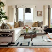 Зонирование гостиной ковром серого цвета
