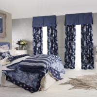 Синий цвет в оформлении спальни
