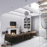 Коричневый диван в интерьере светлой гостиной