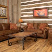 Кожаная мебель в гостиной кантри стиля