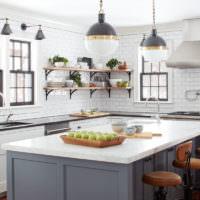 Кухонный остров в ретро стиле