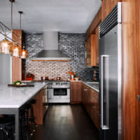 Кухня в стиле лофт в загородном доме