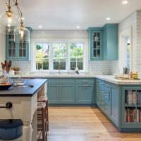Стенка из белого кирпича в интерьере кухни