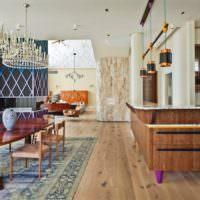 Интерьер кухни частного дома в смешанном стиле