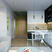 Сочетание черного цвета с пастельными тонами в дизайне кухни