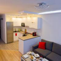П-образный кухонный гарнитур из ламинированной МДФ