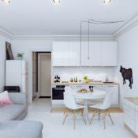 Кухня гостиная в белом цвете