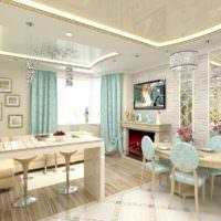 Неоновая подсветка на потолке кухни гостиной