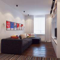 Деревянный пол в комнате с диваном