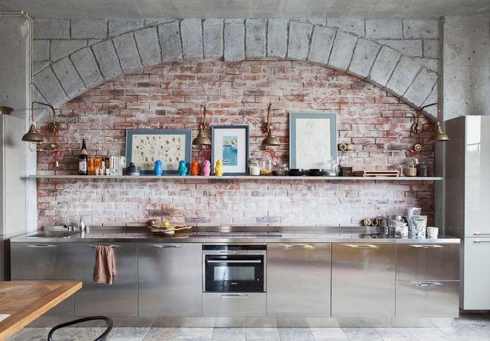 Дизайн кухни частного дома в индустриальном стиле