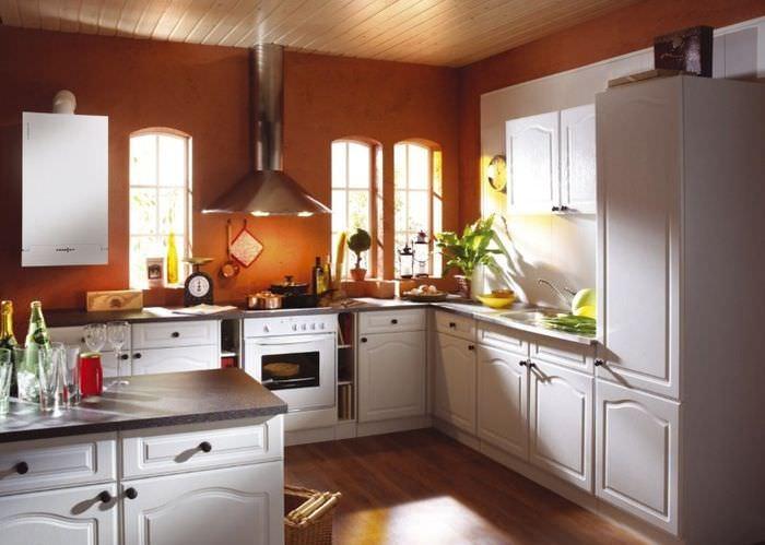 Выделение газового котла в интерьере кухни