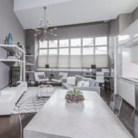 Комната в серых тонах в стиле модерн
