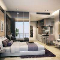 Телевизор напротив кровати в однокомнатной квартире