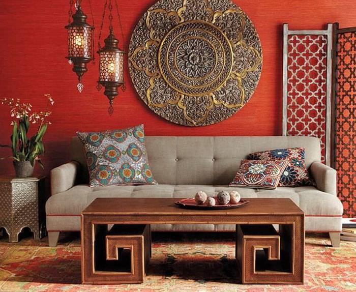 Оформление гостиной частного дома в марокканском стиле