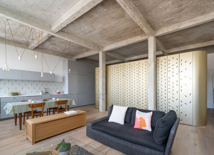 Мебель в интерьере помещения в стиле лофт