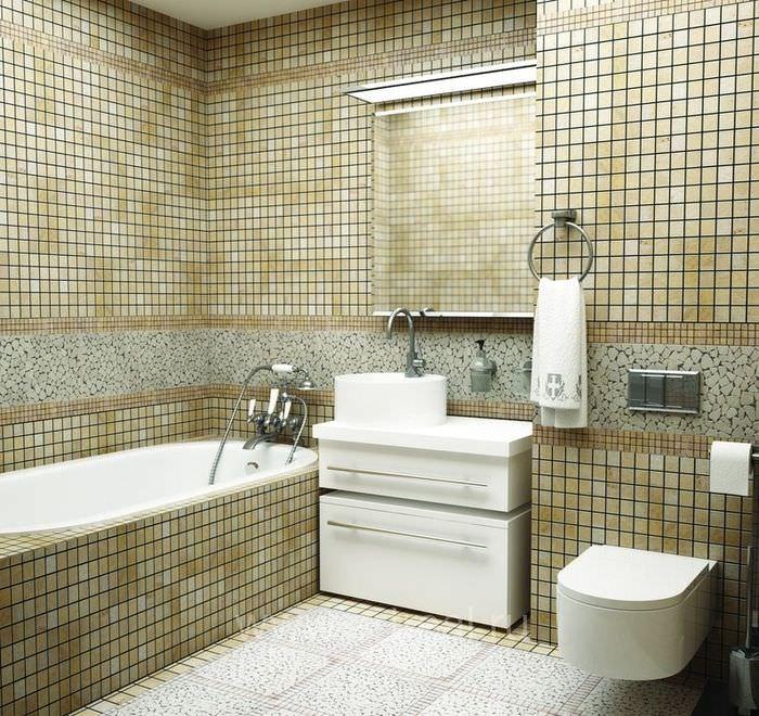 Интерьер ванной с мозаикой пастельных тонов