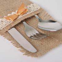 Конверт для столовых приборов из натуральной мешковины