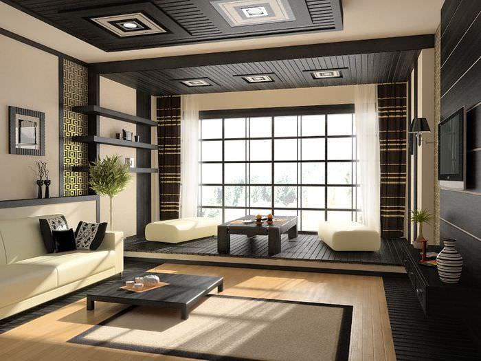 Гостиная частного дома в стиле японского минимализма