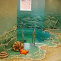 Красивая отделка в ванной комнате из мозаики