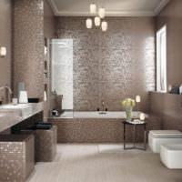 Современный интерьер ванной в частном доме