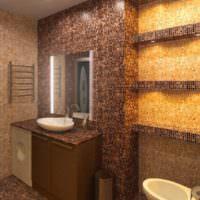 Коричневая мозаика в интерьере ванной