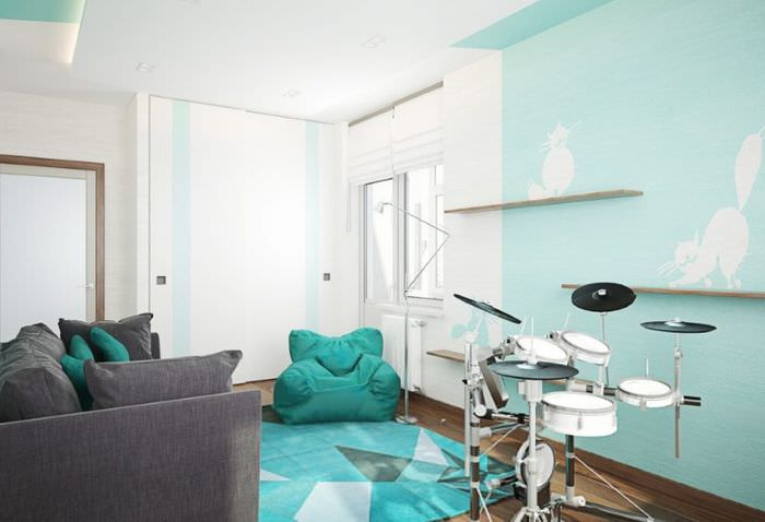 Интерьер гостиной комнаты в спокойных тонах