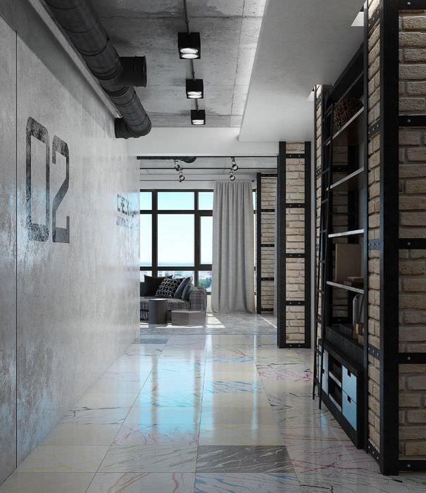 Оформление стен в коридоре жилого здания стиля лофт