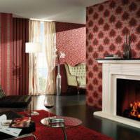 Интерьер гостиной с камином в темных оттенках