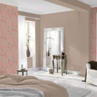 Комбинация цветочных обоев с крашенными стенами