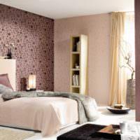 Сочетание обоев в интерьере современной спальни